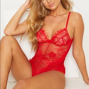 PrettyLittleThing red lace sheer lingerie bodysuit